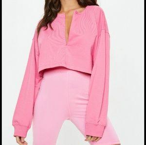 Zip front crop sweatshirt hot pink sports leisure